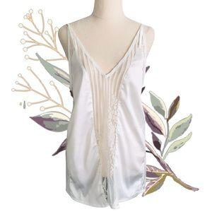 MOSSMAN Silky White Lace V-Neck Camisole